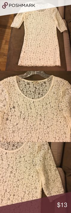 Beige Lace 3/4 Length Sleeve Burnout Shirt Medium Beige 3/4 length sleeve burnout shirt size medium.  Good used condition from a smoke free home.  BKE brand from the Buckle.  90% polyester 10% spandex. BKE Tops