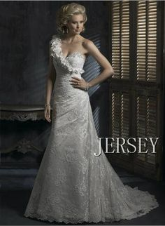 oblique lace flower fish tail the bride wedding dress