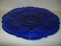 Cobalt Blue glass cake serving Plate Platter tray pedestal thistle pattern candy