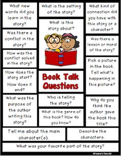 Book Talk Questions to help talk about books. Reading Comprehension Worksheets, Reading Resources, Reading Strategies, Reading Activities, Teaching Reading, Guided Reading, Partner Reading, Classroom Resources, Teaching Ideas