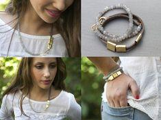 Womens wickeln Lederarmband mit gold und grauen Edelsteine, Gold und Leder-Armband, Valentinstag Geschenk, verkauft die meisten Element