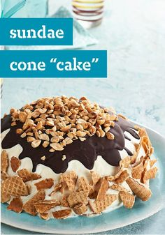 "Sundae Cone ""Cake"" — For ice cream lovers, there's nothing better than a cake that's actually made with ice cream. And this yummy sugar cone-studded showstopper can be prepped in just 15 minutes!"