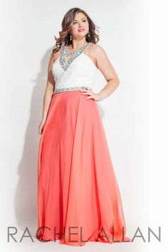 Rachel Allan Curves 7419 White_Coral Prom 2016 Plus_Size
