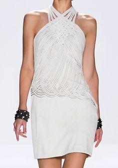 Tadashi Shoji Spring 2010 RTW Hammered Silk Crepe and Jersey Macramé Halter Dress Profile Photo