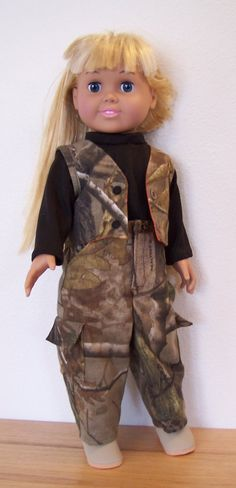 American Girl Doll Clothes - 2 piece hunting outfit - Cargo pants & Reversible Vest - 18 inch doll
