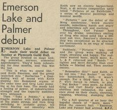 Emerson, Lake & Palmer -ELP - Debut Show Review - New Musical Express - Aug 29 1970 Moog Synthesizer, Pictures At An Exhibition, Greg Lake, Emerson Lake & Palmer, Progressive Rock, Joy And Happiness, Love Is All, Music Quotes, Rock Bands