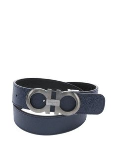 Salvatore Ferragamo ultramarine and black pebbled calfskin reversible gancini buckle belt Cool Belt Buckles, Argyle Socks, Designer Belts, Men's Belts, Black Pebbles, Casual Attire, Men Street, Men's Fashion, Fashion Design