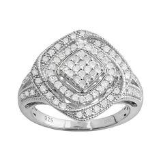 Sterling Silver 1/2-ct. T.W. Diamond Openwork Square Ring, Women's, Size: 7, White