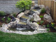 Small Waterfall Sloped Backyard Landscaping Ideas On Waterfall Landscaping Design Waterfall Landscaping, Garden Waterfall, Pond Landscaping, Small Waterfall, Waterfall Design, Sloped Backyard, Backyard Water Feature, Ponds Backyard, Backyard Ideas