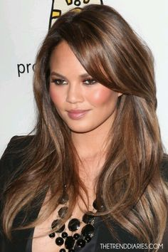 Chrissy Teigen hair color. Brown hair with golden highlights.