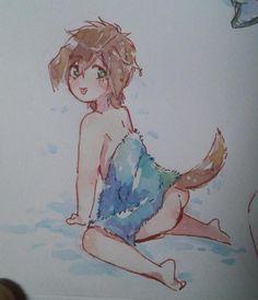 Clean wet puppy ...  Drawn by lesfrites ... Free! - Iwatobi Swim Club, free!, iwatobi, makoto tachibana, makoto, tachibana, dog, puppy