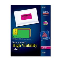 Amazon.com: Avery High Visibility 2 x 4 Inch Labels, Assorted Fluorescent Colors 150 Pack (5978): Office Products