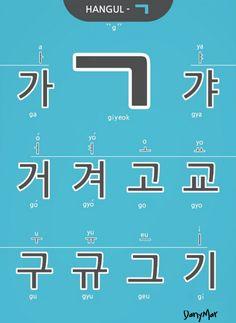 """Esta consonante """"ㄱ"""" suena """"g"""" o """"k"""" dependiendo de su posición en la silaba Korean Language Learning, Learn A New Language, Foreign Language, Korean Letters, Korean Alphabet, Korean Phrases, Korean Words, Hangul Alphabet, Korean Handwriting"""