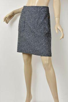 3ec40b874 ANN TAYLOR Blue Textured Cotton Tweed Exposed Zip Pocket Pencil Skirt M 8 # fashion #