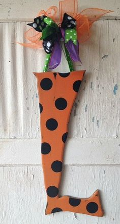 Wooden Halloween Letter L Door Hanger