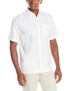 Cubavera Mens Tucks with Ombre Embroidery Short Sleeve Woven Shirt, Bright White, Small