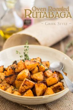 Greek Style Oven Roasted Rutabaga - Food to TryThese Greek Style Oven Roasted Rutabaga are so good, so creamy, so tasty, they'll make your forget all about regular white potatoes. Low Carb Recipes, Vegetarian Recipes, Cooking Recipes, Healthy Recipes, Whole30 Recipes, Protein Recipes, Free Recipes, Healthy Snacks, Veggie Side Dishes