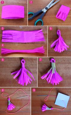 How to make a tassle for cinco de mayo photo instructions from our tutorial on how to make a Pinata for Cinco de mayo celebrations - https://happythought.co.uk/craft/tutorials/how-to-make-a-pinata