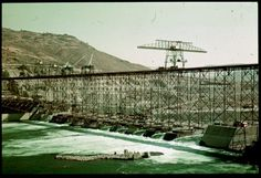 600 pixels, long side  Cushman ID:  438.6  Archives ID:  P01460  Date:  Sep. 22, 1938  Description (Slide):  D-6 = Grand Coulee Dam under construction Cushman  Description (Notebook):  * D-6= Coulee Dam under construction  Street Address:  (None)  Location:  Grand Coulee,Washington,United States(Grant county)