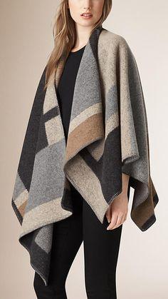 Cámel pálido Poncho en lana y cachemir de checks - Imagen 1
