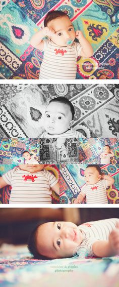2 month old - love the quilt, how his eyes pop... i usually like plain backgrounds but I don't find this distracting; just interesting! Love it!