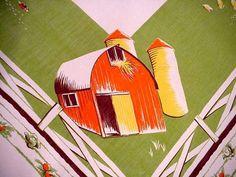 Vintage FARM Life AMISH Tablecloth BARN Windmill COWS Pigs HAY WAGON Calaprint  | eBay