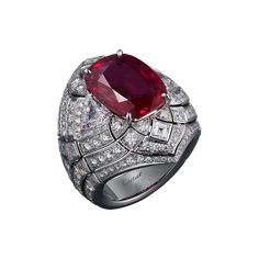 High Jewelry ring High Jewelry <br />Cartier Royal <br />ring, platinum, one 8.38 carat cushion-cut ruby from Burma, calibrated diamonds, brilliant-cut diamonds.