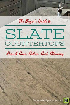 Slate Countertops Buyer's Guide. This really helped me decide. Covers it all. Pros & cons, cost, colors, cleaning and how to avoid bad slate. Cost Of Countertops, Slate Countertop, Bathroom Countertops, Countertop Materials, Slate Bathroom, Slate Kitchen, Kitchen Cost, Buyers Guide, Kitchen Design