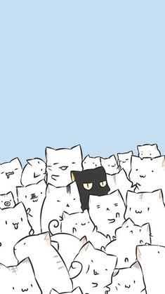 New cats illustration wallpaper gatos 42 ideas Wallpaper Gatos, Cute Cat Wallpaper, Kawaii Wallpaper, Trendy Wallpaper, Black Wallpaper, Cat Phone Wallpaper, Wallpaper Samsung, Winter Wallpaper, Chat Kawaii