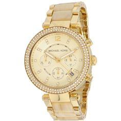 Michael Kors MK5632 - Modern Safari Parker Chronograph Watches ($295) ❤ liked on Polyvore featuring jewelry, watches, accessories, bracelets, michael kors jewelry, michael kors, clear watches, gold tone watches and dial watches