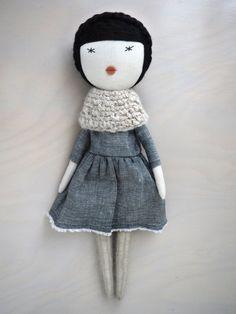 Handmade doll rag doll unique gift/ Agnès by lespetitesmainsS