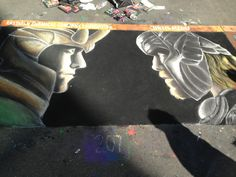 Chalk drawing of Loki and Thor at SPARKcon
