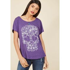 Unlock Your Intrigue T-Shirt ($15) ❤ liked on Polyvore featuring tops, t-shirts, apparel, graphic tee, purple, heart t shirt, graphic print t shirts, purple top, skull tee and relaxed fit t shirt