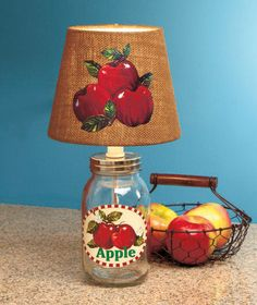 Country Mason Jar Lamps Vintage Old Fashioned Apple Lamp Kitchen Dinning Decor