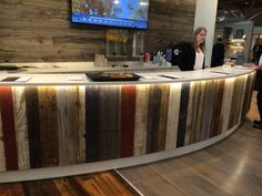 Reclaimed wood island front
