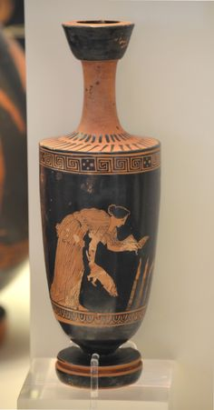 Attic red-figure lekythos: Woman with dog, torches and basket with offerings- a sacrifice to Hecate, probably. (ca 420 B.C), from the National Archaeological Museum of Athens.