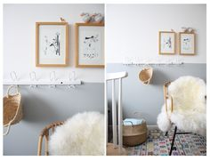 I love these half painted grey walls! (petit sweet). the wall-mounted hooks are perfect at the transition