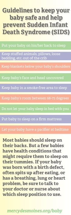Guidelines to help keep newborn babies and infants safe and help prevent Sudden Infants Death Syndrom (SIDS).