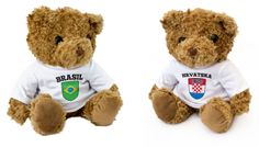 croatia teddy and brasil teddy are looking forward to the opening football match tonight in sao paulo - let's have loads of goals