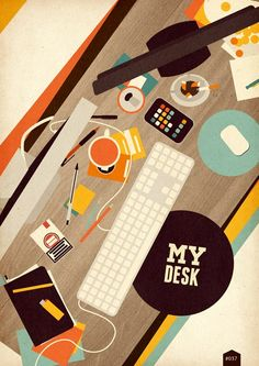 desk, working place in flat retro design