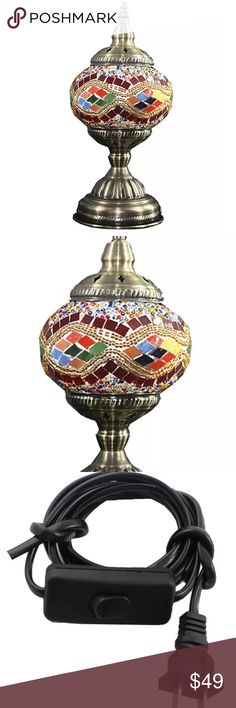 """VINTAGE TURKISH GLASS MOSAIC LAMP SWAN NECK POLE BEAUTIFUL WORK OF ART: Our handmade table lamp can be artfully displayed. It comprises a bronze metal body and swan neck arm with mosaic lantern that make it look pretty and stunning when it is light up at night. - HIGH QUALITY AND DURABLE: Our Turkish Moroccan Handmade Lamps are made using quality materials. They are brand new, personally checked and will not compromise on quality. LED lighting bulb included · Glass Diameter: 5.40"""" """"Length…"""