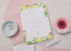 Citrus Invitations for a summer Italian wedding with lemon details.