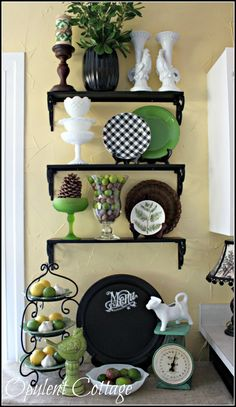 and White Cottage Kitchen Tour Opulent Cottage: black and white kitchen freshened with pops of green!Opulent Cottage: black and white kitchen freshened with pops of green! Green Dining Room, Green Kitchen Decor, Kitchen Colors, New Kitchen, Dining Rooms, Kitchen Ideas, Kitchen Updates, Kitchen Nook, Kitchen Shelves