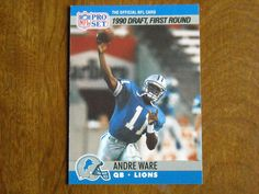 Andre Ware Detroit Lions QB Card No. 675 (FB675) 1990 NFL Pro Set Football Card - for sale at Wenzel Thrifty Nickel ecrater store