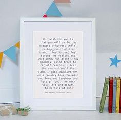 Personalised Baby Wish Print - Give a Christening gift that shows they are truly cherished. Thoughtful and original, lots of the products can be personalised as they are created by talented independent designers or small creative businesses.