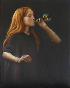 la bulle d'après photo de julie hetta pastels secs sur fond noir