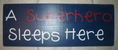 A Superhero Sleeps Here Childrens Bedroom by CottageSignShoppe