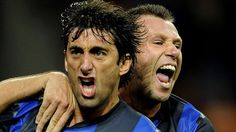 Diego #Milito (FC Internazionale Milano)  Diego Milito (L) of FC Inter celebrates with Antonio Cassano after scoring the opening goal during the Italian Serie A match against AFC Internazionale Milano
