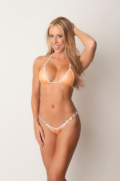 orange and white competition bikini, lulu choi swimwear, crystal connectors, fitness, bikini model, sexy swimwear