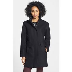 Vince Camuto Wool Blend Coat ($200) ❤ liked on Polyvore featuring outerwear, coats, black, vince camuto, black coat, black cocoon coat, wool blend coat and vince camuto coats
